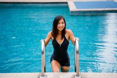 Woman in Black 1-piece Swimsuit Standing Out of the Pool Royalty Free Stock Photo