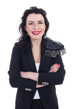 Woman in black. Woman dressed in black smiling to a camera Stock Photography