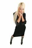 Woman in black. Pretty blonde woman in black dress Stock Photo