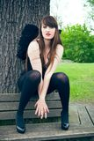 Woman with black angel wings Royalty Free Stock Photo