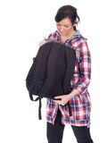 Woman with a black backpack Royalty Free Stock Images