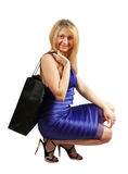 Woman   with black bag Royalty Free Stock Images