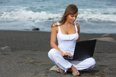 Woman on the Black Beach Royalty Free Stock Photography
