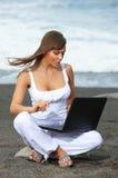 Woman on the Black Beach Stock Photos