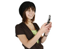 Woman in black beret. Happy young woman in black beret using cell phone isolated on white background stock images