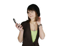Woman in black beret. Happy young woman in black beret using cell phone isolated on white background stock photo