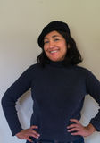 Woman with black beret Stock Photography