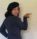 Woman with black beret Royalty Free Stock Photo