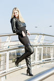 Woman with black boots Royalty Free Stock Images