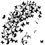 Woman with black butterflies Royalty Free Stock Photos