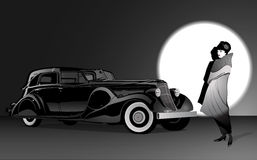 Woman and black car Royalty Free Stock Photography