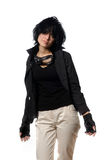 Woman in black casual clothing with Stock Images
