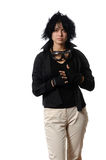 Woman in black casual clothing with Royalty Free Stock Image