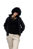 Woman in black casual clothing Royalty Free Stock Images