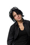 Woman in black casual clothing with stylish galsses Royalty Free Stock Images