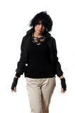 Woman in black casual clothing with stylish galsses Stock Photo