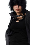 Woman in black casual clothing with stylish galsses Royalty Free Stock Photography