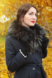 Woman in a black coat on background of autumn tree Stock Image