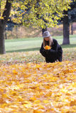 Woman in black coat with collecting leaves Royalty Free Stock Photography