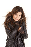 Woman black coat portrait Stock Images