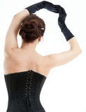 Woman in black corset Stock Images