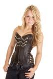 Woman black corset chain button Royalty Free Stock Photo
