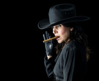 Woman in Black Cowboy Hat with Cigar Stock Photos