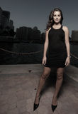 Woman in a black dress Stock Image