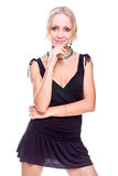 Woman in a black dress Royalty Free Stock Photography