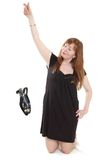 Woman in black dress Stock Photos