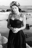 Woman in black dress Royalty Free Stock Photos