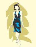 Woman in black dress. Linear sketch of a woman in evening dress Vector Illustration