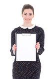 woman in black dress with clipboard Stock Photos