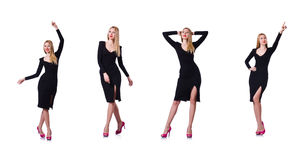The woman in black dress in fashion concept on white Royalty Free Stock Photo