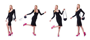 The woman in black dress in fashion concept on white Royalty Free Stock Photos