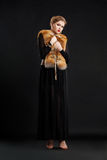 Woman in Black dress and Fox Fur Mantle - Glamour Royalty Free Stock Photo