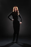 Woman in black dress full length Stock Photography