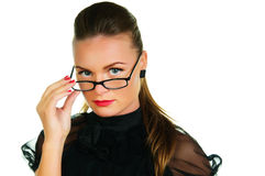 Woman in black dress and glasses Royalty Free Stock Image