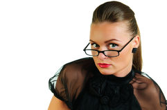 Woman in black dress and glasses Stock Image