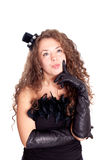 Woman in a black dress and gloves Royalty Free Stock Images