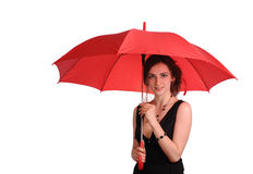 Woman in black dress hold red umbrella Stock Images