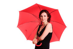 Woman in black dress, hold red umbrella Royalty Free Stock Photo