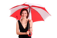 Woman in black dress, hold red umbrella Royalty Free Stock Image