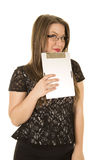 Woman black dress lipstick clipboard look over Stock Photo
