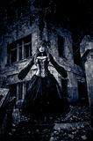 Woman in black dress from nightmares. Woman in black dress from nightmare or fantasy Stock Photos