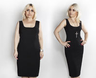 Woman in black dress, photos before and after weight loss. stock image