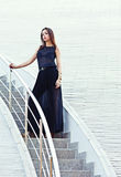 Woman in a black dress. Royalty Free Stock Images