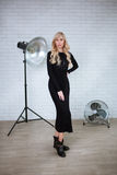 Woman in black dress Stock Photo