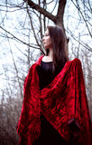 Woman in black dress with red fabric in cold dark forest Stock Images