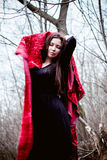 Woman in black dress with red fabric in cold dark forest Royalty Free Stock Photo